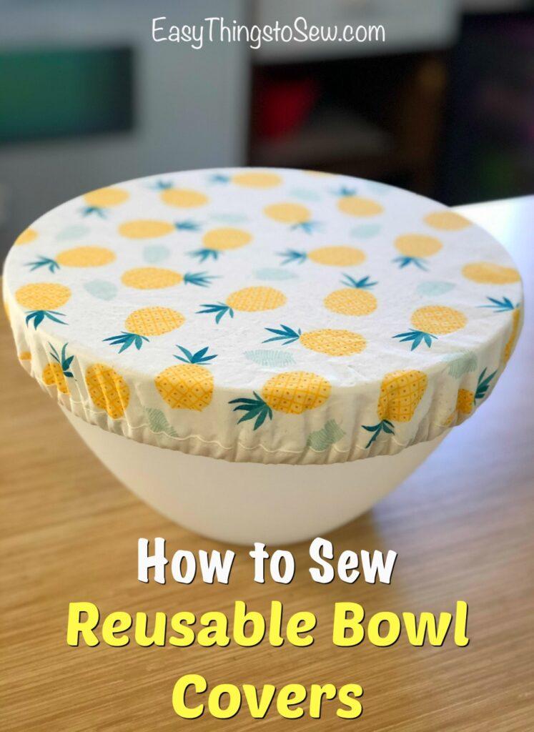 reusable bowl cover on white plastic bowl