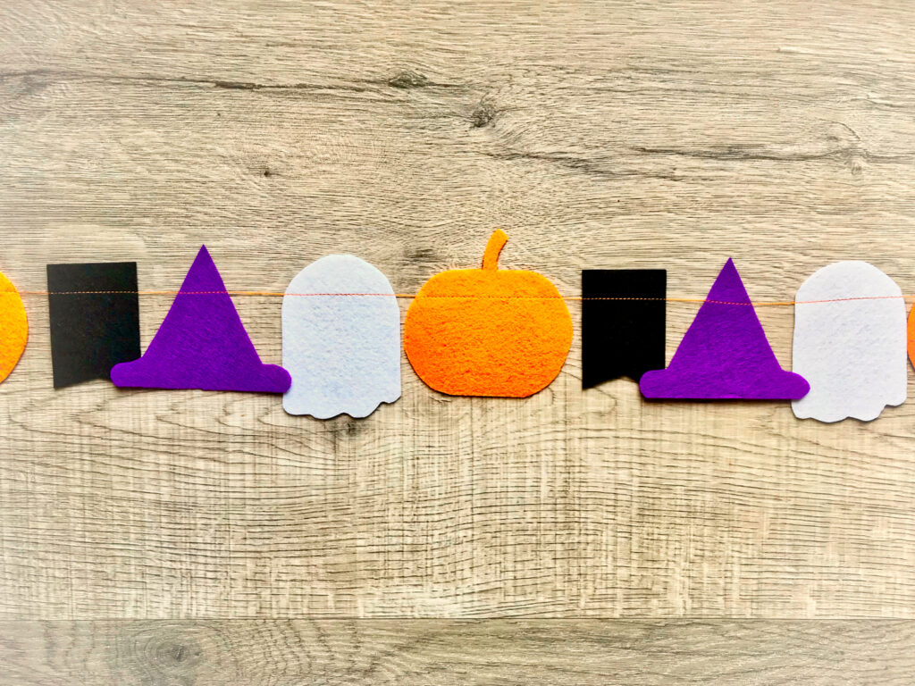 felt cutouts in Halloween shapes