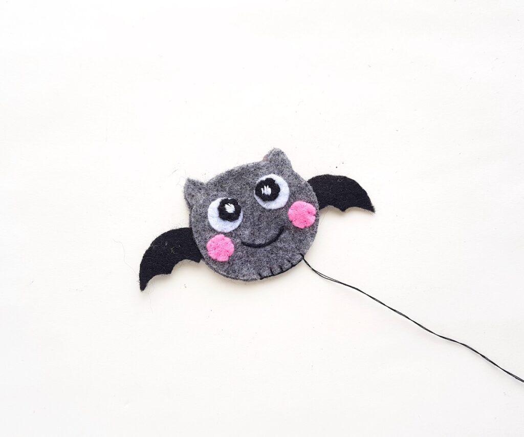felt bat plush toy sewn