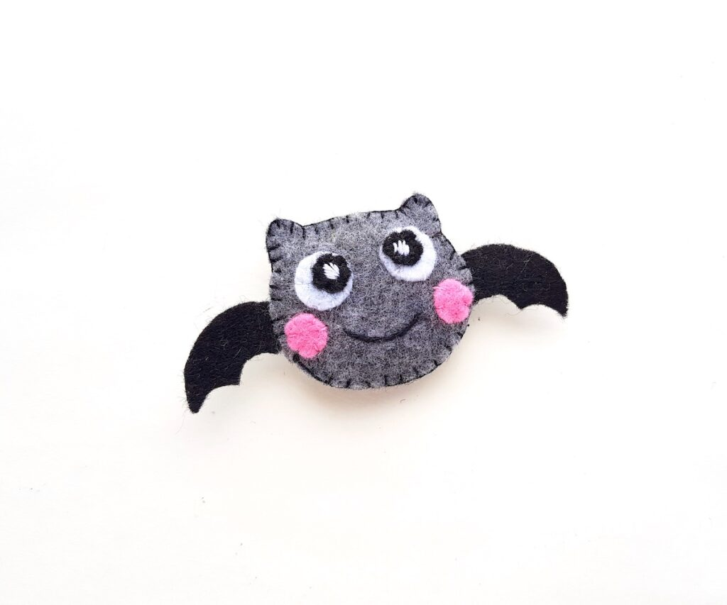 grey felt halloween plush bat with wings