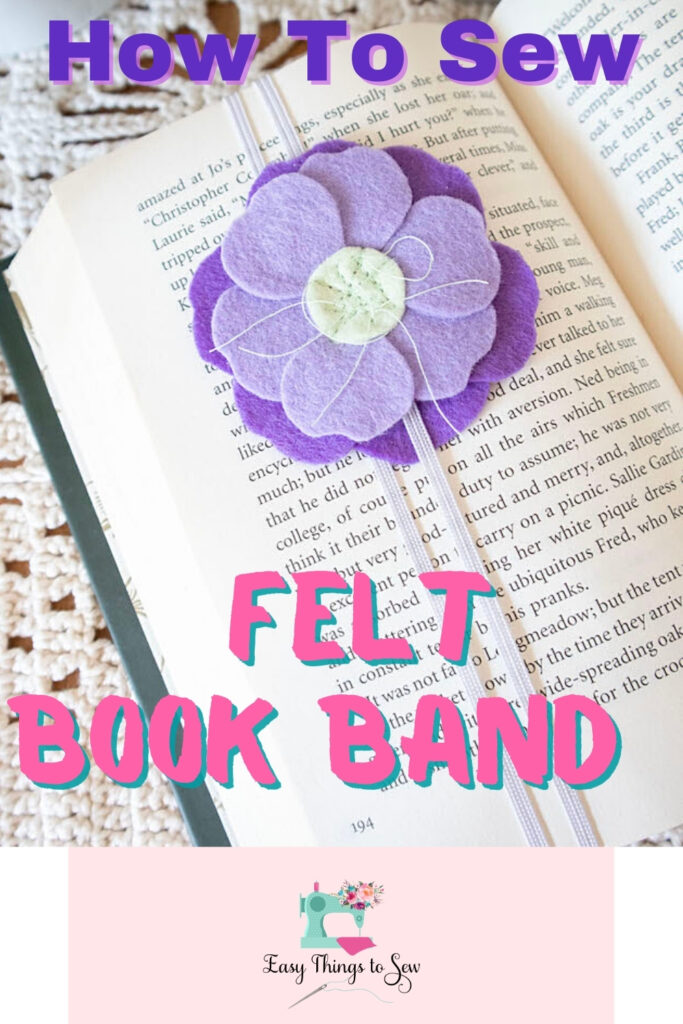 felt flower on an elastic book band