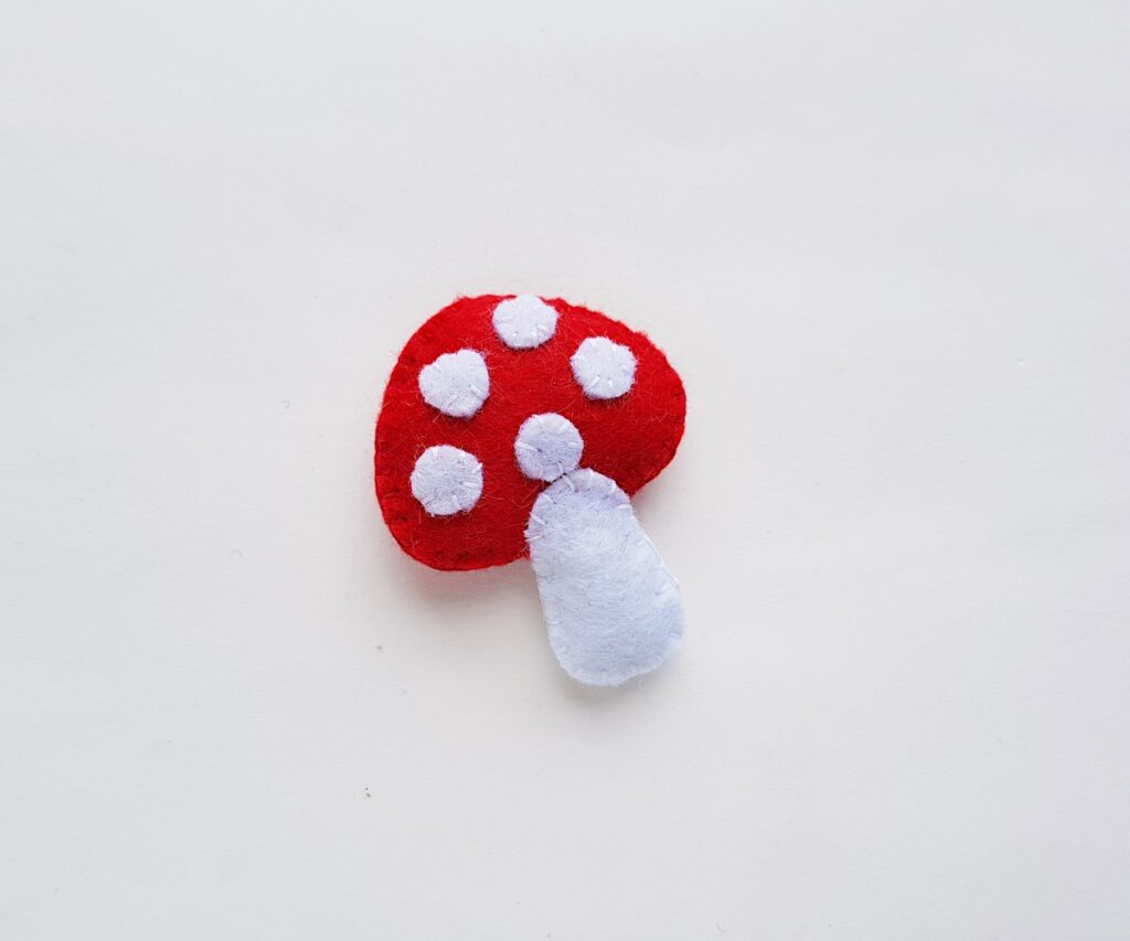 Felt Mushroom Plush completed after final sewing
