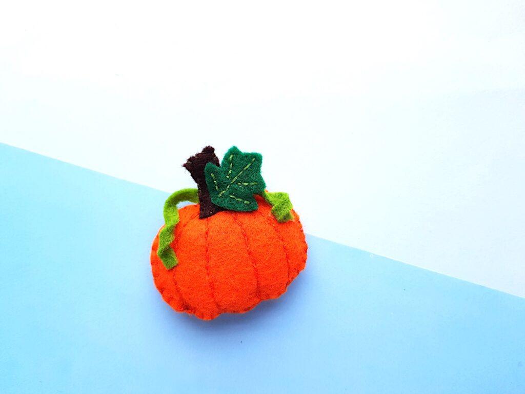 Cute Felt Pumpkin Plush softie overhead view
