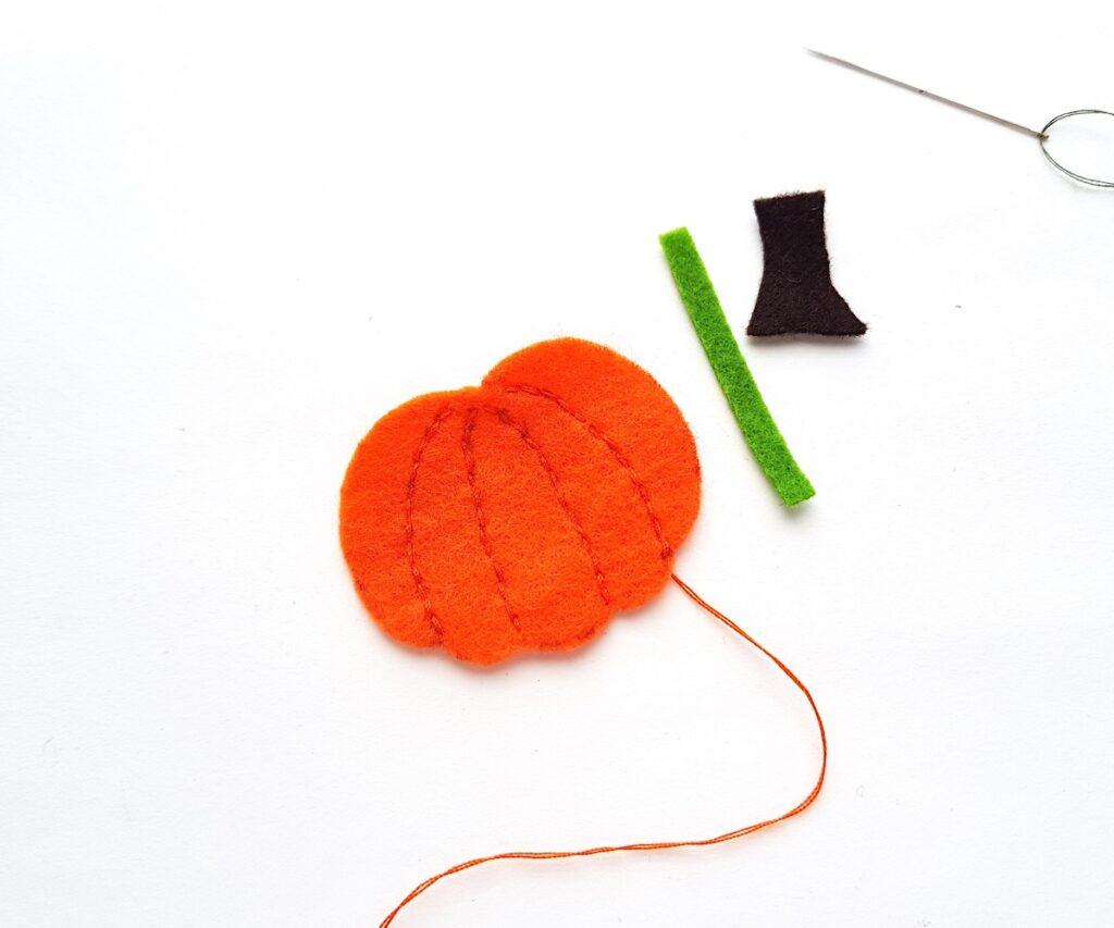 Cute Felt Pumpkin Plush sewing lines on pumpkin pattern
