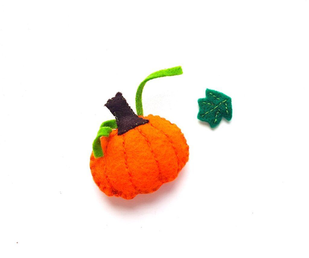 Cute Felt Pumpkin Plush with sewn leaf