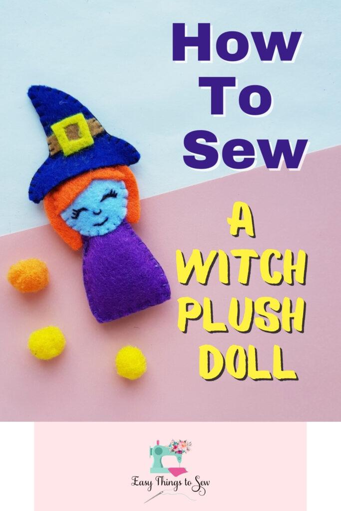 felt witch plushie doll