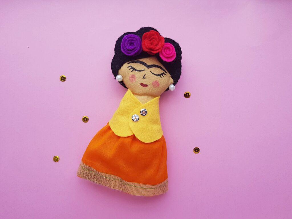Artist Frida Kahlo rag doll with colored felt features