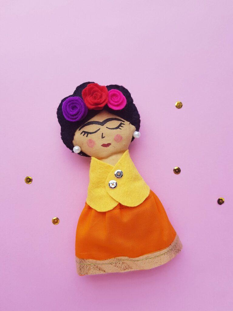 Frida Kahlo sewn felt rag doll