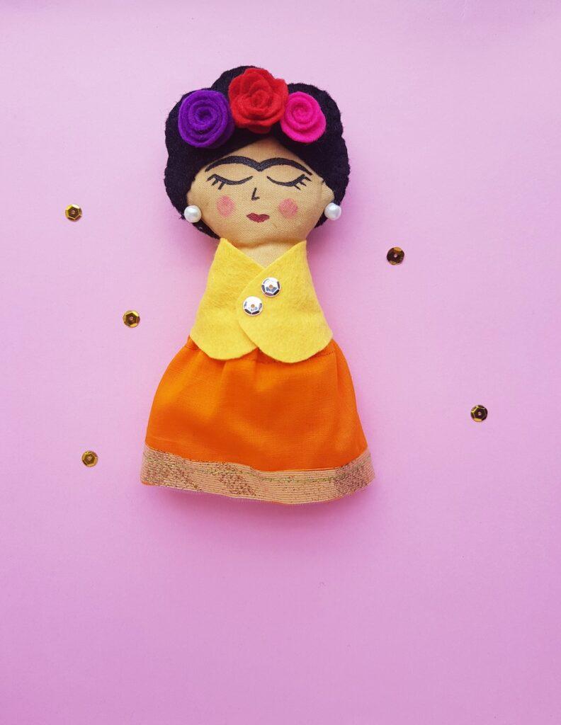 fabric painted Frida Kahlo rag doll