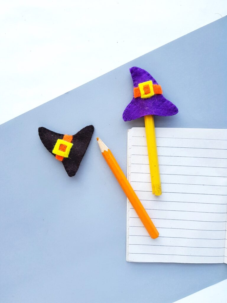 halloween craft for kids mini felt witch hat pencil toppers