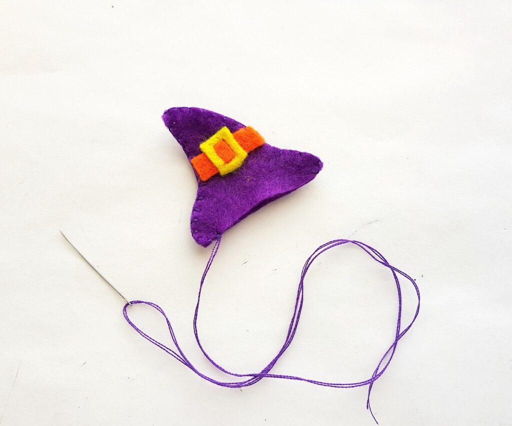 felt witch hat pencil topper sewn with thread