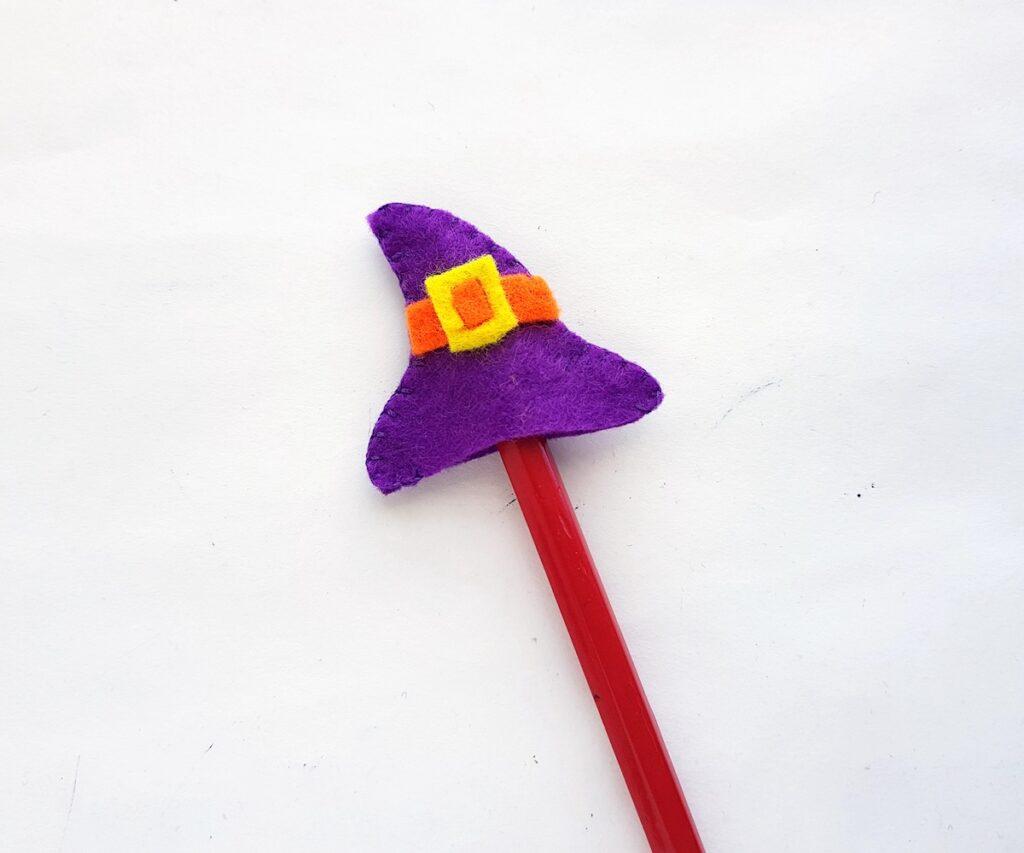 DIY felt witch mini hat pencil topper