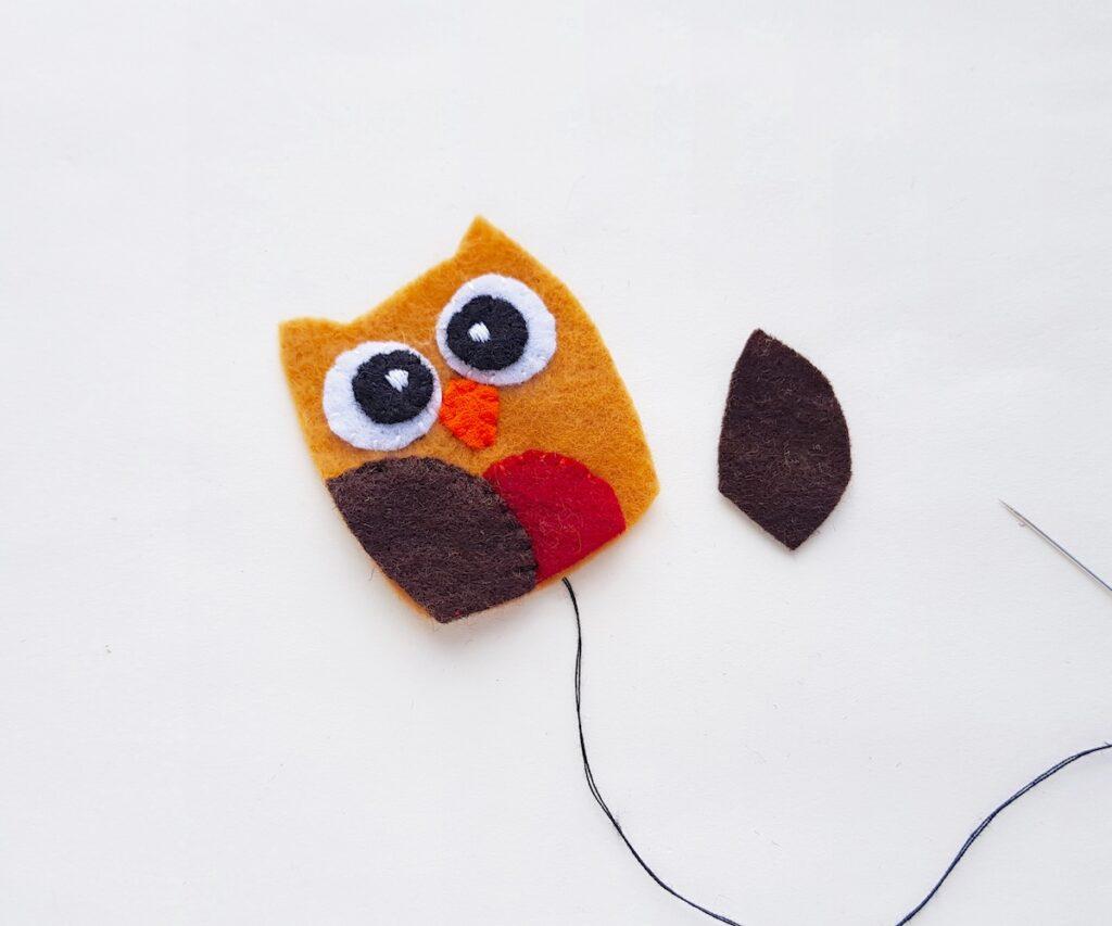 Felt Owl Plush sewing dark brown wings