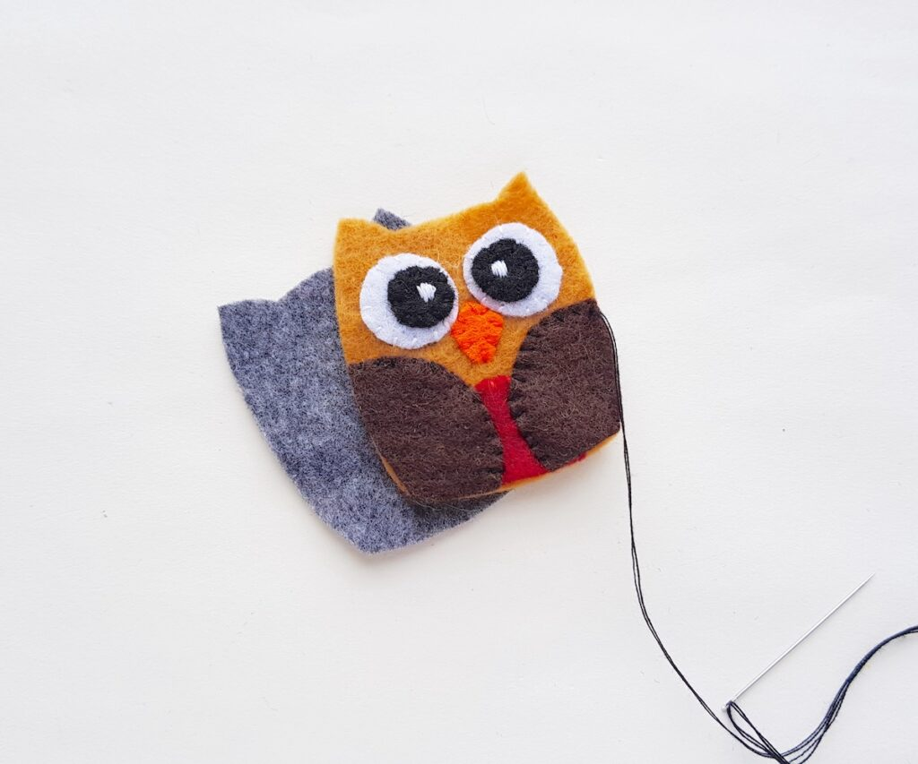 Felt Owl Plush attaching back felt panel