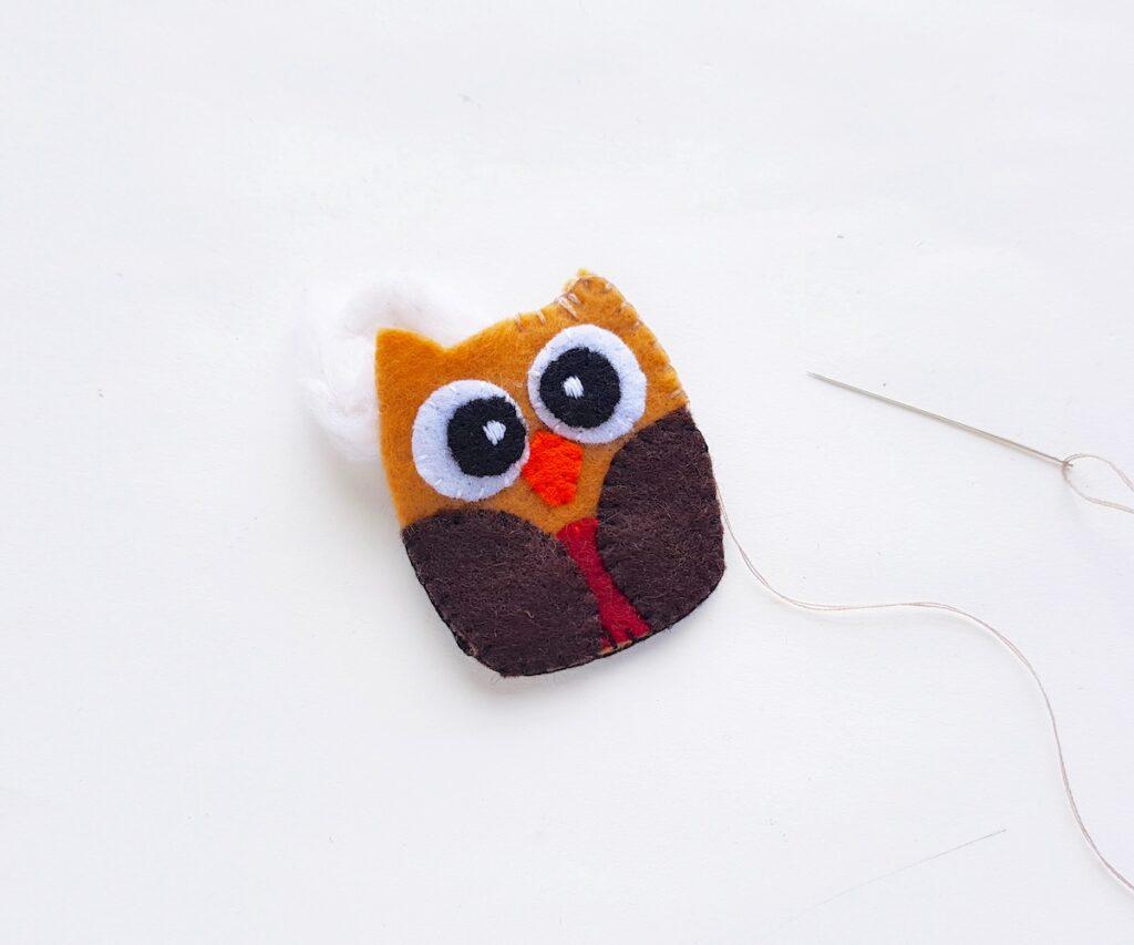 Felt Owl Plush sewing two halves together