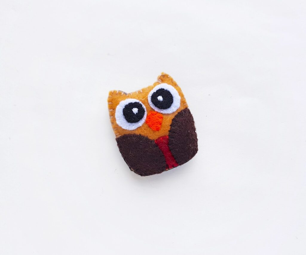 Felt Owl Plush completed step 8