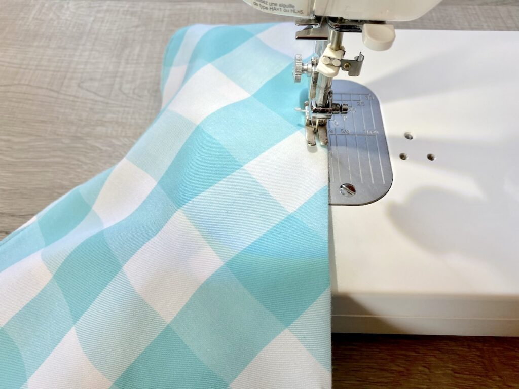 sewing checkered fabric on sewing machine