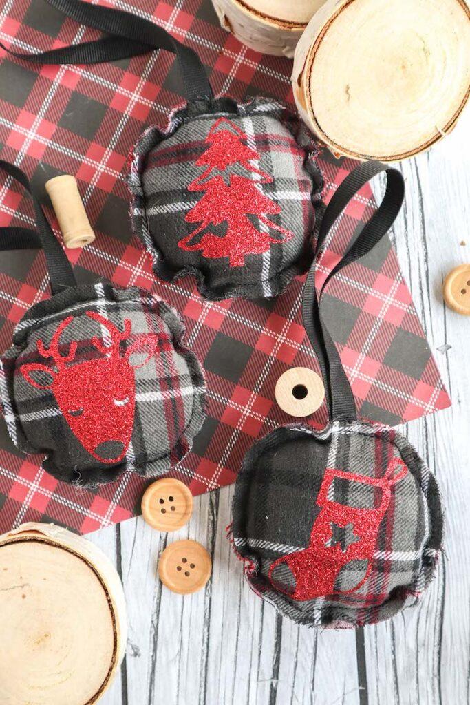 flannel scrap fabric Christmas ornaments