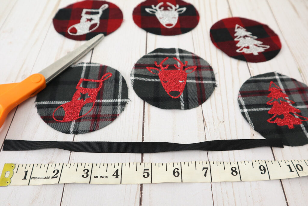 scrap fabric easy sew Christmas ornaments measuring ribbon