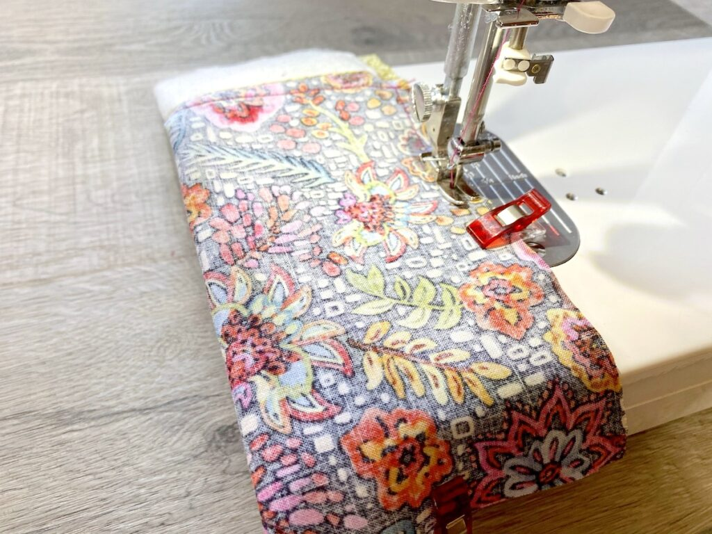 Sunglasses Case Step 9 being sewn on sewing machine