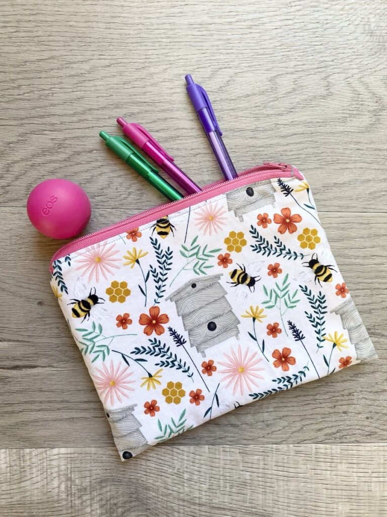 Lined Zipper Pouch wood background