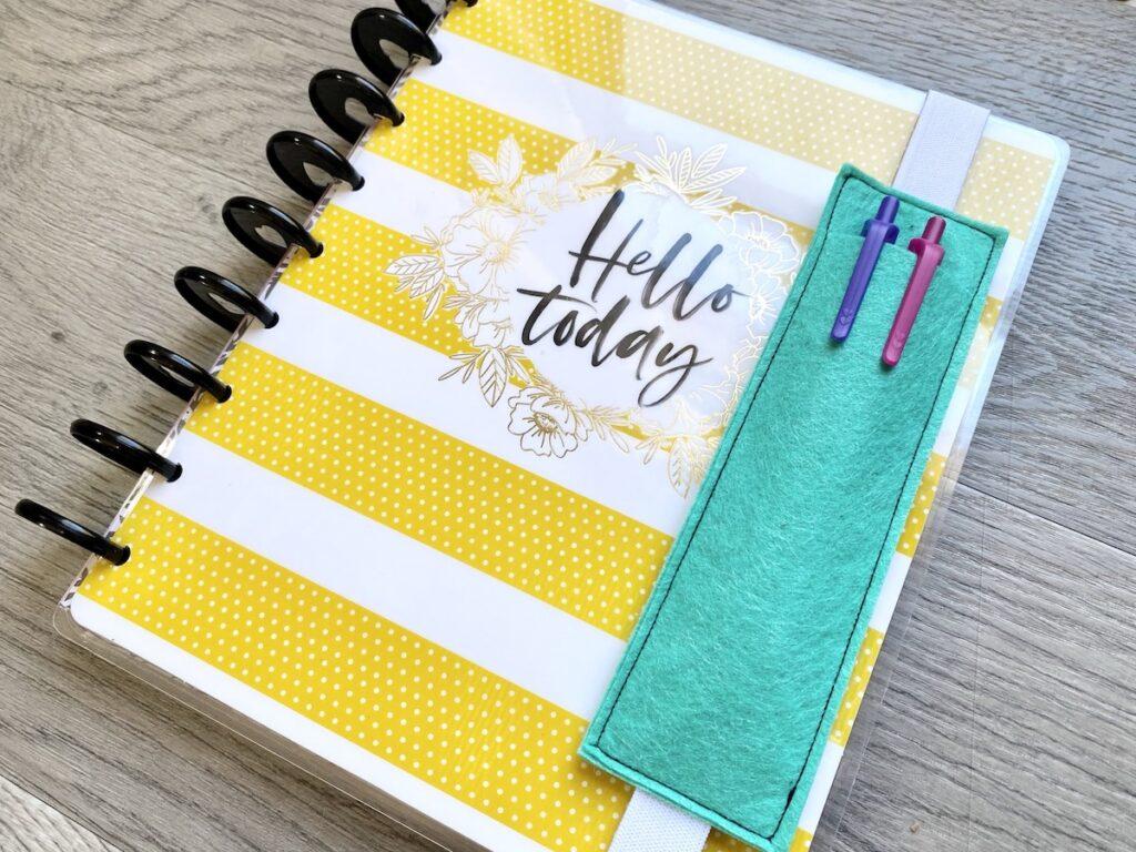 DIY planner pencil pocket up close
