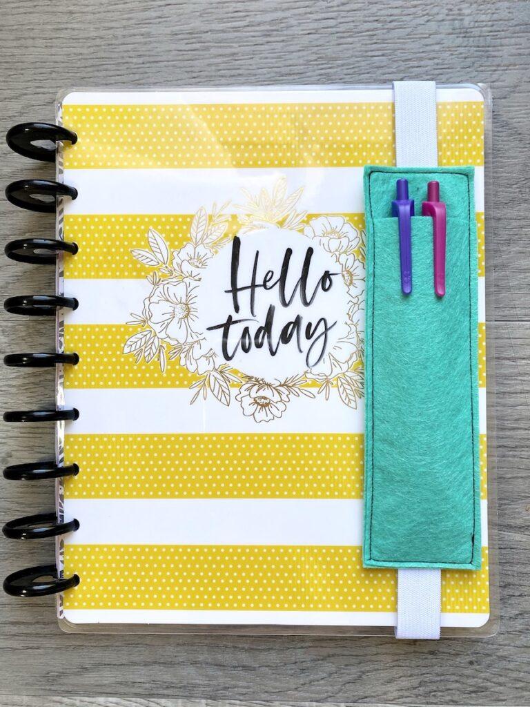DIY planner pencil pocket overhead