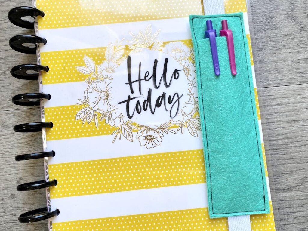 pen holder pocket on notebook