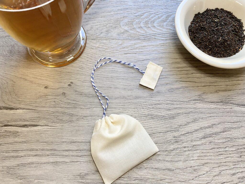 reusable tea bags on wood table