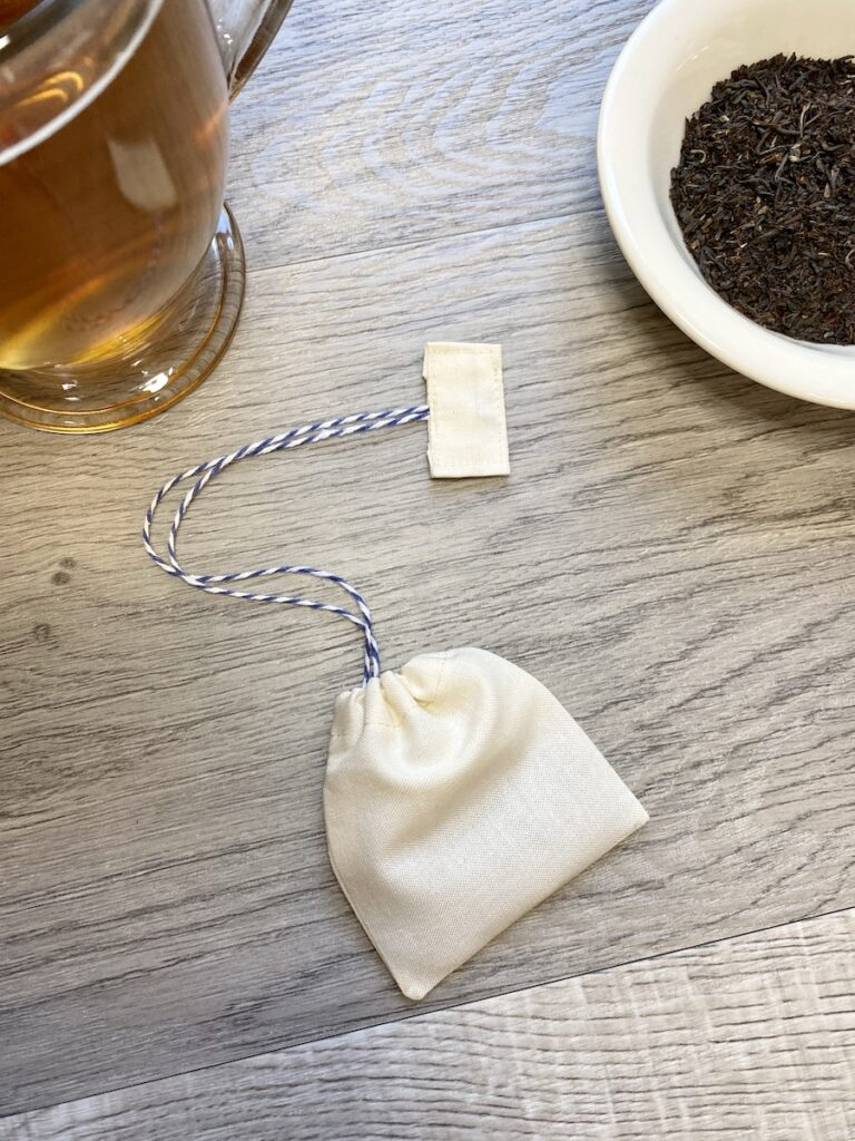 reusable tea bags on table top