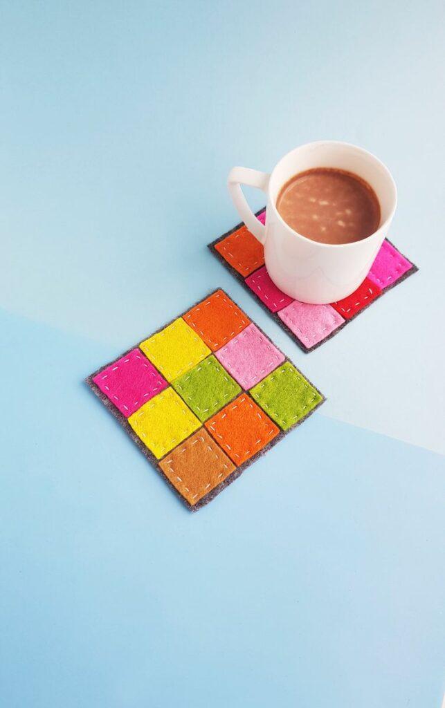 Patchwork Felt Coasters with coffee mug
